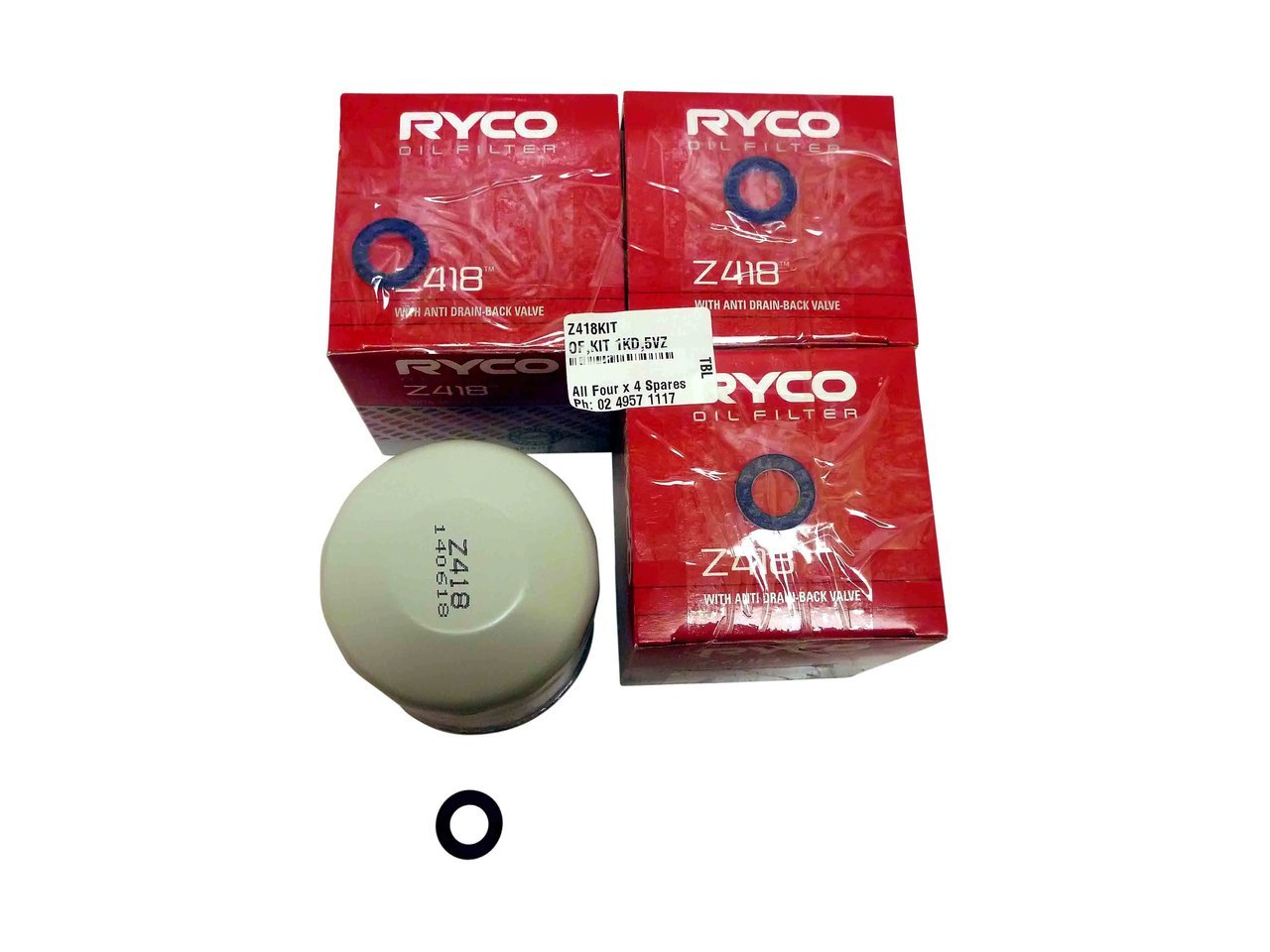 Four Z418 Ryco Oil Filters suitable for Suzuki Landcruiser Hilux Camry Hiace