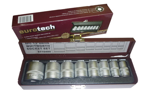 "8 Piece Socket Set Whitworth/ BSF Thread,  1/2"" Drive, Imperial Thread- Eurotech"