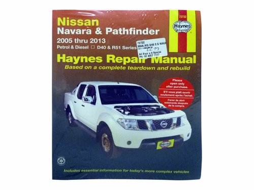 Workshop Manual for Nissan Navara D40 and Pathfinder R51 2.5L Turbo Diesel 72732