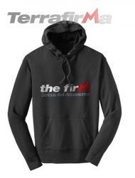 'The Firm' Hoodie - Large Size. Black with red and silver logo