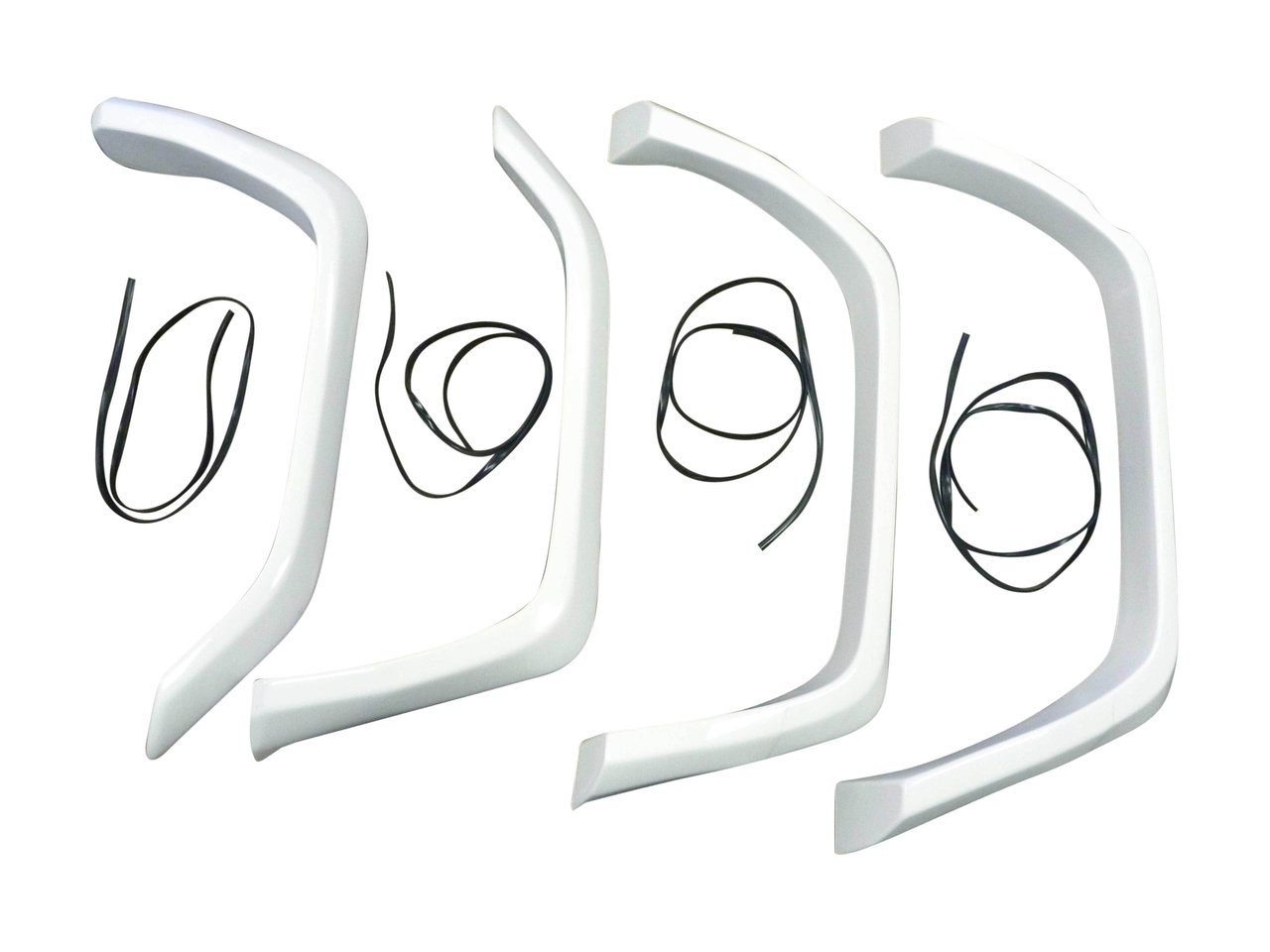 set of white fibreglass flares suitable for landcruiser vdj78