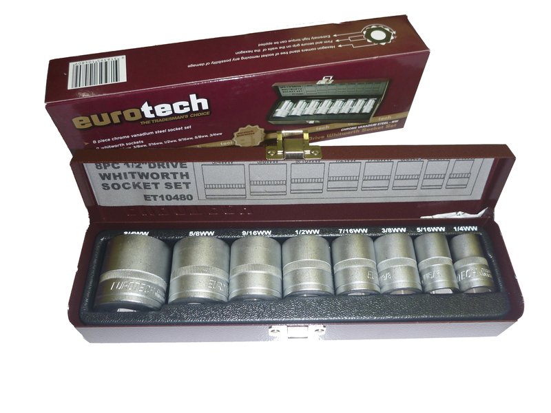 8 piece socket set whitworth bsf thread 1 2 drive imperial thread eurotech. Black Bedroom Furniture Sets. Home Design Ideas