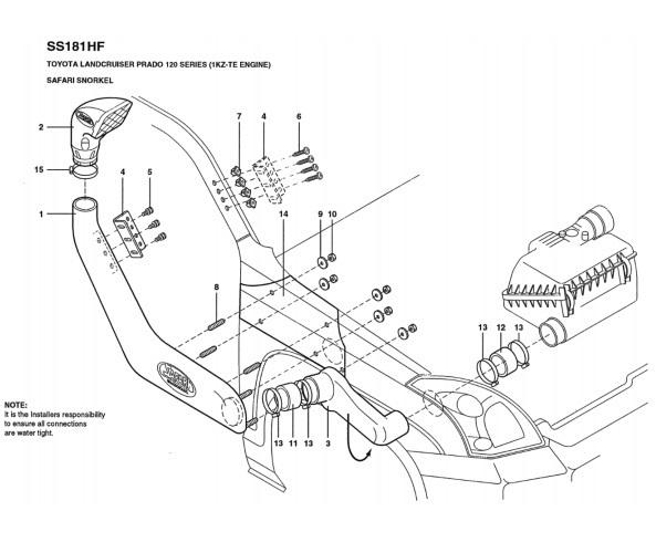 Safari Snorkel for Prado KDJ120 KZJ120 3 0L 4 Cyl Turbo Diesel