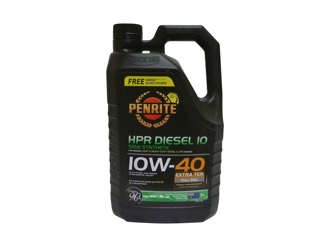 Penrite hpr diesel 10 semi synthetic engine oil 10w 40 5l for Synthetic motor oil for diesel engines